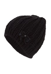 Hallhuber Knitted Beanie With Bow Feature