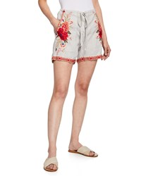 Johnny Was Burken Linen Shorts W Floral Embroidery Sand