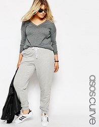 Asos Curve Sweat Pant With Contrast Tie Gray Marl