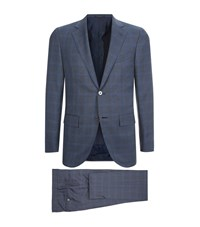 Corneliani Check Suit Male Blue