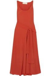 Antonio Berardi Asymmetric Draped Crepe Wrap Dress Orange