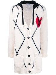 Red Valentino Knitted Heart Hooded Cardigan White