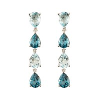Emily Mortimer Jewellery Aqua Topaz Long Drop Earrings Blue Silver