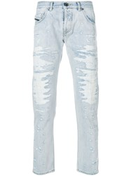 Diesel Black Gold Distressed Straight Leg Jeans Blue