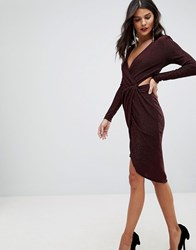 Morgan Cross Front Cut Out Detail Mini Dress Berry Red