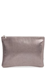 Bp. Faux Leather Large Zip Pouch Metallic Hematite