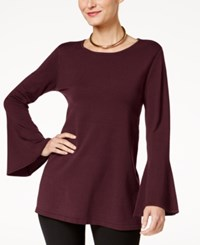 Alfani Bell Sleeve Tunic Sweater Created For Macy's New Wine