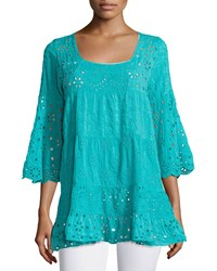 Johnny Was Bell Sleeve Eyelet Tiered Tunic Women's