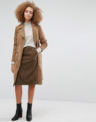 Warehouse Cord Midi Skirt Tan