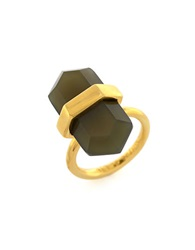 Louise Et Cie Gold Plated Crystal Shard Ring Brown