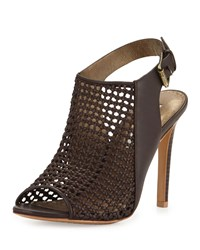 Cynthia Vincent Francine Woven Leather Slingback Sandal Dark Brown