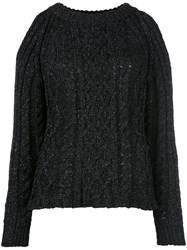 Nude Cable Knit Cut Out Jumper Black