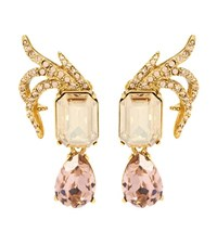 Oscar De La Renta Crystal Embellished Clip On Earrings Gold
