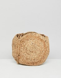 Mango Circular Small Straw Bag In Natural Beige