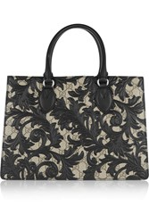 Gucci Linea A Medium Leather Appliqued Coated Canvas Tote