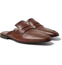 Berluti Luciano Leather Backless Penny Loafers Chocolate