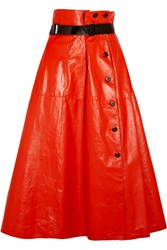 Bottega Veneta Belted Glossed Leather Midi Skirt Tomato Red