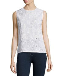 Ag Jeans Teagan Jewel Neck Eyelet Shell True White Women's