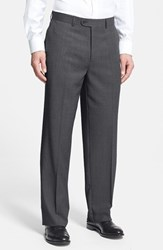 Men's Linea Naturale 'Tic Weave' Super 100S Wool Trousers Charcoal