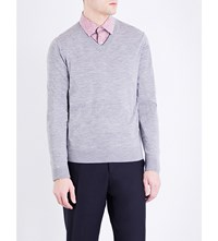 Paul Smith V Neck Merino Wool Jumper Grey Melange