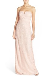 Women's Donna Morgan 'Reese' Strapless Notch Neck Lace Gown Pearl Pink