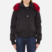 Kenzo Women's Removable Red Fur Lined Short Parka Black