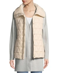 Eileen Fisher Chevron Quilted Snap Front Vest Petite Icing