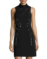 Tahari By Arthur S. Levine Sleeveless Grommet Embellished Dress Black