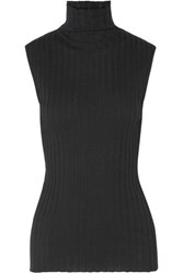 Enza Costa Ribbed Cotton And Cashmere Blend Turtleneck Top Black