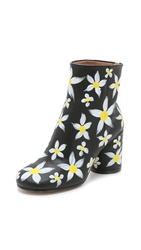 Maison Margiela Hand Painted Floral Booties Black Daisies