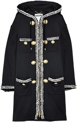 Moschino Hooded Boucle Embroidered Jersey Coat Black