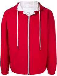 Ck Calvin Klein Contrast Detail Hooded Jacket Red