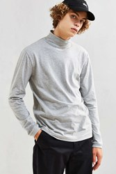 Urban Outfitters Uo Basic Mock Neck Long Sleeve Tee Grey