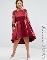 Chi Chi Plus London Dip Hem Prom Dress With Long Sleeves Burgundy Red