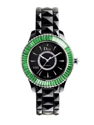 Christian Dior Dior Viii Diamond Tsavorite And Black Ceramic Bracelet Watch Black Tsavorite