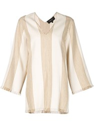 Derek Lam Striped Tunic Nude And Neutrals
