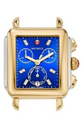 Michele Women's Deco Diamond Dial Two Tone Watch Head 33Mm X 35Mm Gold Cobalt Silver