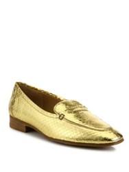 The Row Adam Metallic Snakeskin Loafers Gold