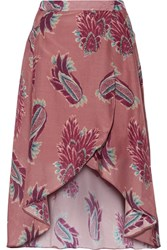 Vix Swimwear Birds June Printed Cotton And Silk Blend Wrap Skirt Plum