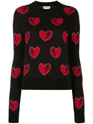 Saint Laurent Heart Embroidered Sweater Women Polyamide Polyester Viscose Wool M Black