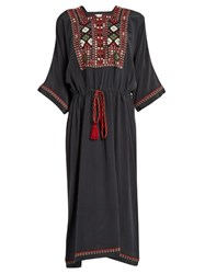 Masscob Panta Embroidered Silk Crepe Dress Dark Grey