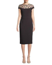 Lela Rose Floral Embroidered Tulle Yoke Fitted Cocktail Dress Medium Purple