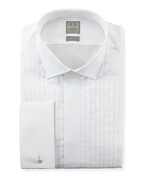 Ike Behar Pleated Fly Front Tuxedo Shirt White
