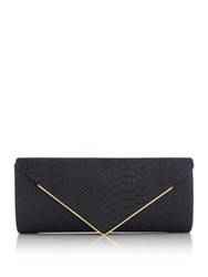 Issa Snake Flap Over Clutch Black