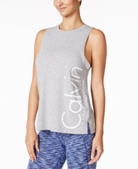 Calvin Klein Performance Logo Boyfriend Tank Top Pearl Grey Heather