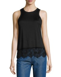 Carven Lace Trim Jersey Tank Black