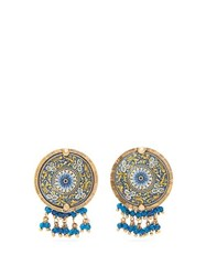 Rosantica By Michela Panero Sicilia Beaded Tile Clip Earrings Blue Multi