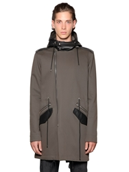 The Kooples Leather Trimmed Cotton Gabardine Parka Military Green