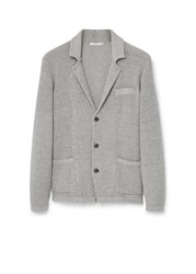 Mango Lapel Cotton Cardigan Grey