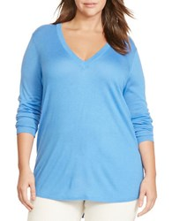 Lauren Ralph Lauren Plus Silk Blend V Neck Sweater Blue